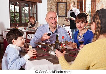familj, pojke, restaurang, lycklig