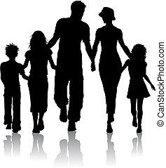 familj, silhuett