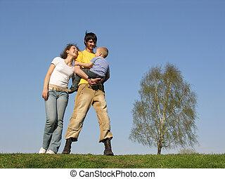 familj, sp, stå, son.