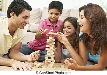 familj, spelande vilt, tillsammans, hemma