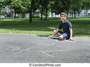 familj, teckning, asfalt, barn