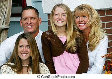 familj, tillsammans, lycklig