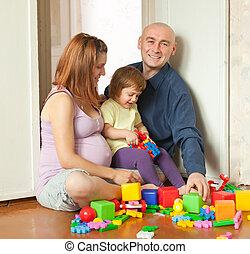 familj, tre, hem