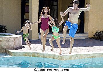 familj, två barn, hoppning, nöje, ha, slå samman, simning