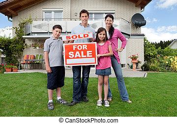 familj, ung, ha, hem, lycklig, köpt