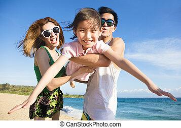 familj, ung, nöje, strand, ha, lycklig
