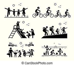 familj, utomhus, fritids-, activities.