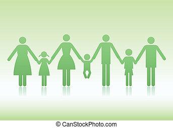 familj, vektor, ikonen