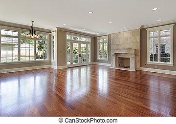 familjrum, in, färsk, konstruktion, hem