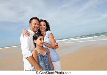familjvacation, stranden
