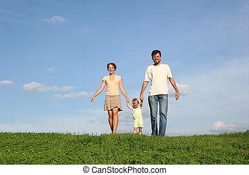 famille, à, bébé, marche, sur, herbe