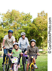 famille, à, leur, vélos