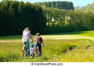 famille, équitation, bicycles, dans, été
