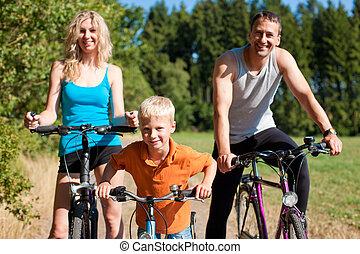 famille, équitation, bicycles, pour, sport