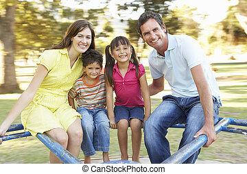 famille, équitation, sur, détourné, dans parc