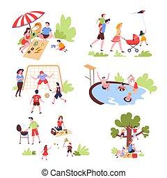 famille, été, activité plein air, et, récréation, loisir
