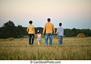 famille, été, heureux, portrait, marche, champ