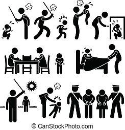 famille, abus, enfants, pictogramme