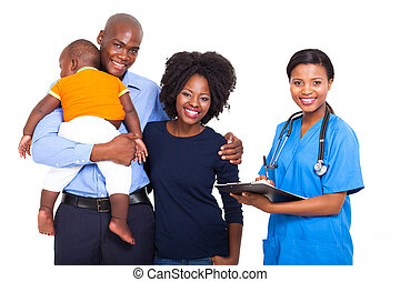 famille, africaine, ouvrier, jeune, femme, healthcare