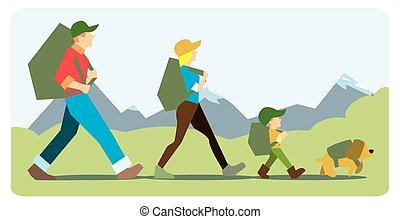 famille, aller, à, les, montagne, à, backpacks.