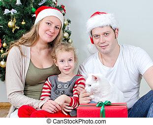 famille, arbre., devant, portrait, noël, heureux