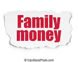 famille, argent, déchiré, monnaie, papier, fond, concept: