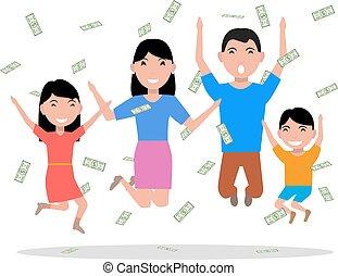 famille, argent, sommet, vecteur, tomber, dessin animé, heureux