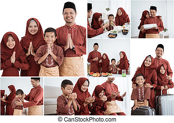 famille, asiatique, tout, allah, membres, prier