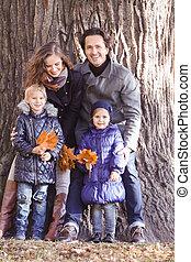 famille, automne, parc