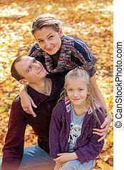 famille, automne, portrait