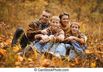 famille, automne, quatre