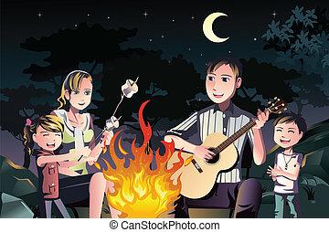 famille, avoir, a, feu