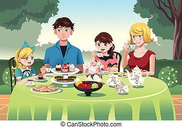 famille, avoir, a, partie thé, ensemble