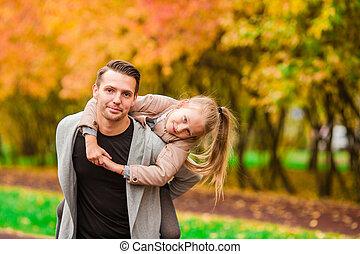 famille, avoir, automne, amusement, jour, heureux
