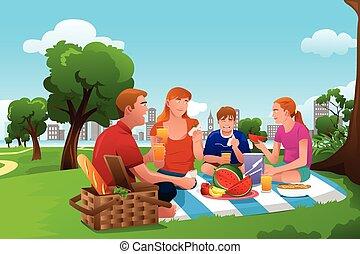 famille, avoir pique-nique, dans parc