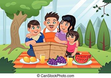 famille, avoir pique-nique, ensemble