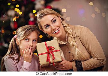famille, avoir, présente, temps, amusement, pendant, noël, heureux