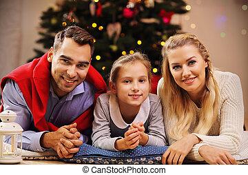 famille, avoir, temps, amusement, pendant, noël, heureux