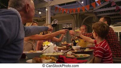 famille, avoir, trois, quoique, grillage, dehors, dîner, ...
