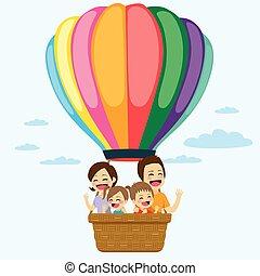famille, ballon air chaud