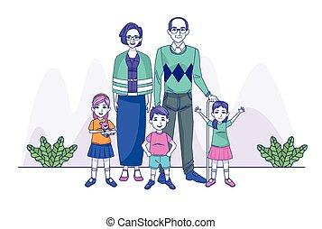 famille, caractères, gosses, parents, grandiose, couple