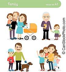 famille, caractères, heureux