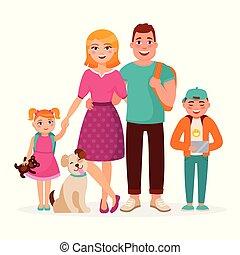 famille caucasienne, dessin animé, caractères, vecteur, plat, conception, isolé, blanc, arrière-plan., heureux, parents, et, enfants, ensemble., mère, père, fils, fille, et, mignon, dog.