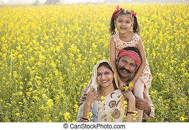 famille, champ, rural, rapeseed, agricole, portrait, heureux
