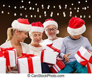 famille, chapeaux, dons, santa, noël, heureux
