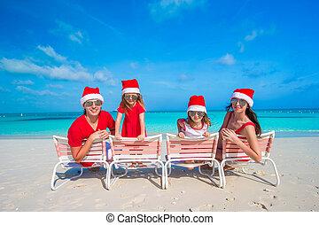 famille, chapeaux, exotique, santa, amusement, plage, avoir