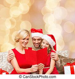 famille, chapeaux, salutation, santa, carte, heureux