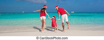 famille, chapeaux, trois, noël, amusement, plage blanche, avoir, heureux