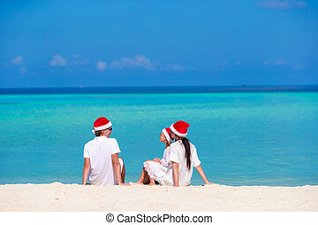 famille, chapeaux, vacances, santa, pendant, plage, noël, heureux
