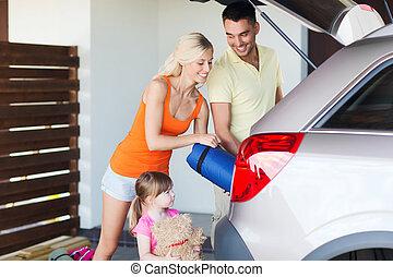 famille, choses, stationnement, emballage, voiture, maison, ...